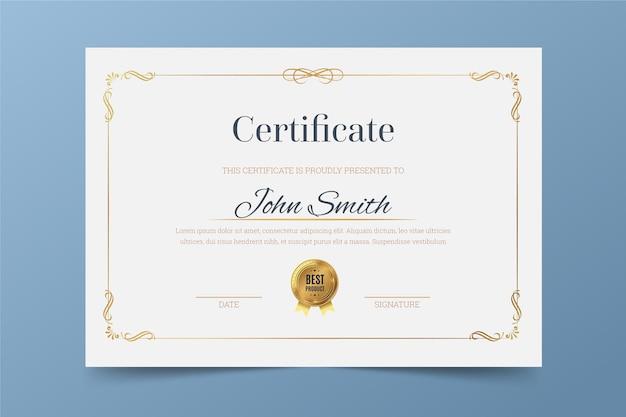 Elegant thema voor certificaatsjabloon Gratis Vector