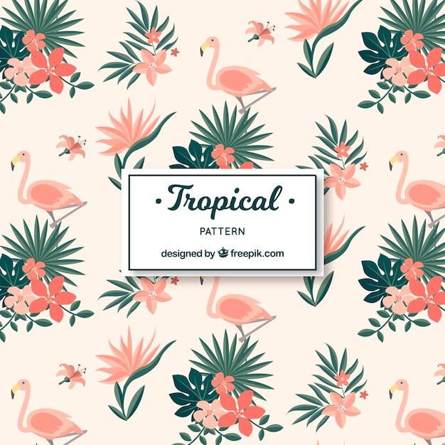 Elegant tropisch patroon met vintage stijl Gratis Vector