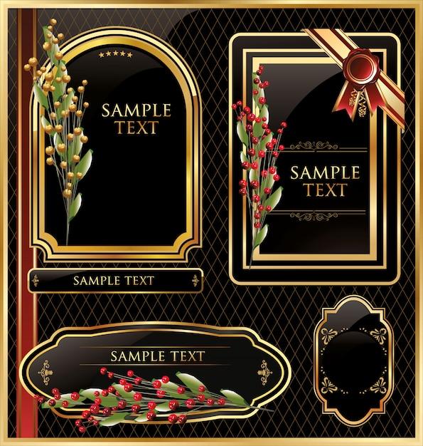 Elegant vector zwart gouden frame label Premium Vector