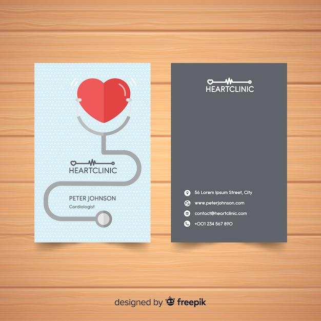 Elegant visitekaartje met medisch concept Gratis Vector