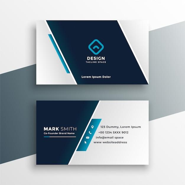 Elegant visitekaartjeontwerp in blauwe geometrische stijl Gratis Vector