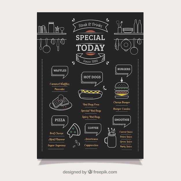 Elegant voedsel truck menu op het schoolbord Gratis Vector