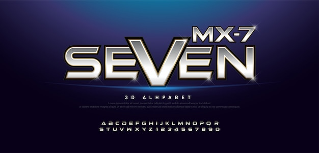 Elegant zilver en goud 3d metalen alfabet en nummer Premium Vector