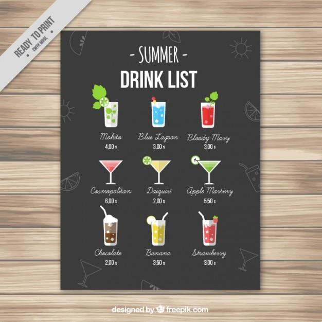 Elegant zomer drinken lijst Gratis Vector