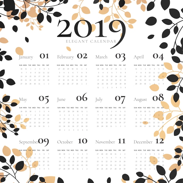 Elegante 2019 kalender met florale lijst Gratis Vector