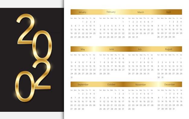 Elegante 2020-kalendersjabloon Premium Vector