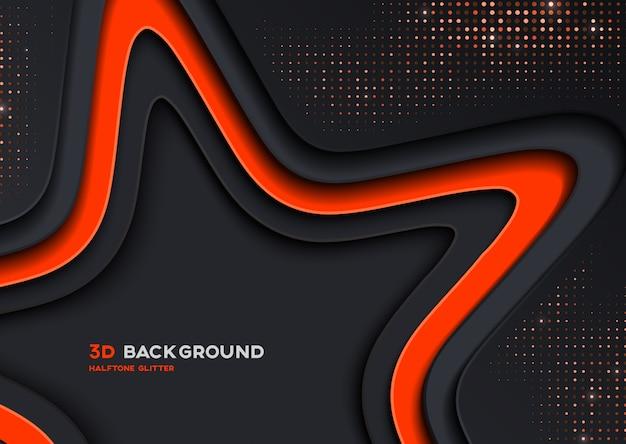 Elegante 3d star-achtergrond met halftoon glitter textuur Premium Vector