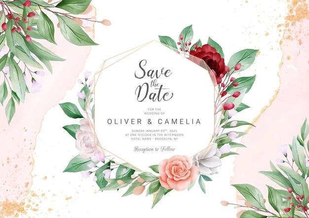 Elegante abstracte bruiloft uitnodiging kaartsjabloon ingesteld met geometrische floral frame Premium Vector