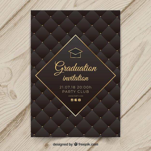 Elegante afstuderen uitnodigingssjabloon Gratis Vector