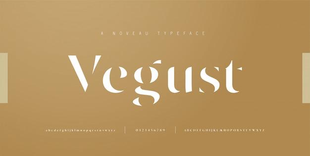 Elegante alfabet letters lettertype en nummer. klassieke belettering minimale modeontwerpen. typografie-lettertypen hebben normale hoofdletters, kleine letters en cijfers. illustratie Premium Vector