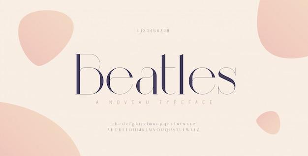 Elegante alfabet letters lettertype en nummer. klassieke stedelijke belettering minimale modeontwerpen. typografische lettertypen in hoofdletters, kleine letters en cijfers. Premium Vector