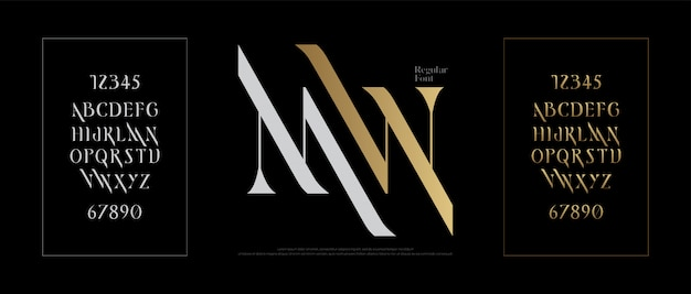 Elegante alfabet lettertype klassieke letters Premium Vector