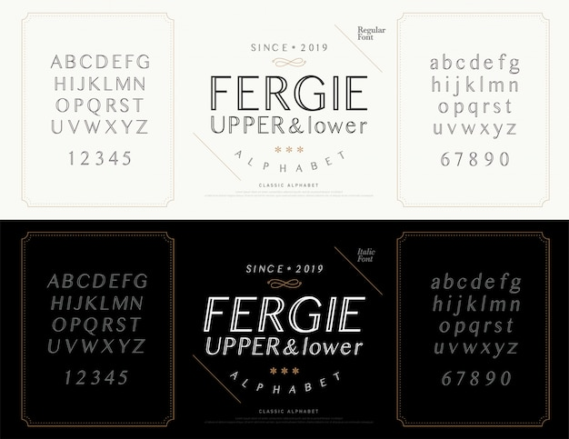 Elegante alfabetbrieven lettertype. bruiloft klassiek Premium Vector