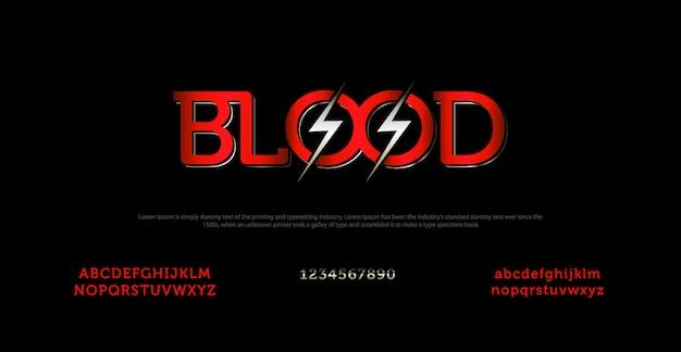 Elegante alfabetlettertype en typografie met bloedbrief Premium Vector