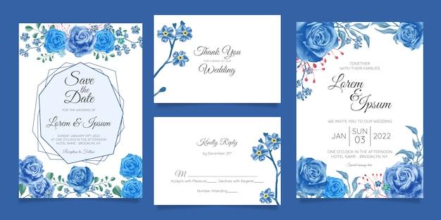 Elegante aquarel bruiloft uitnodiging kaartsjabloon ingesteld met bloemendecoratie Premium Vector