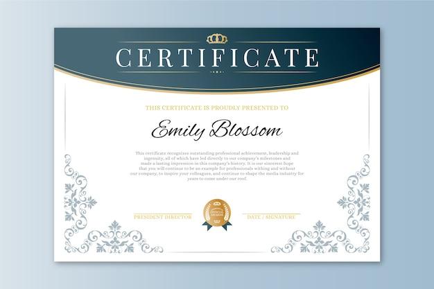 Elegante award certificaatsjabloon Gratis Vector