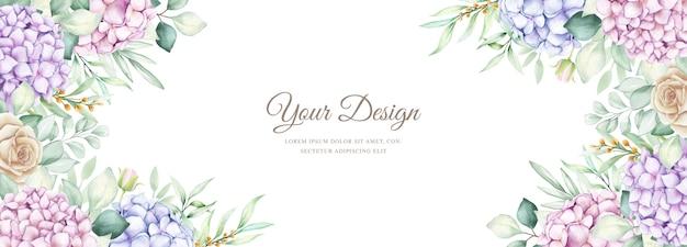 Elegante banner met aquarel hortensia bloemen Gratis Vector