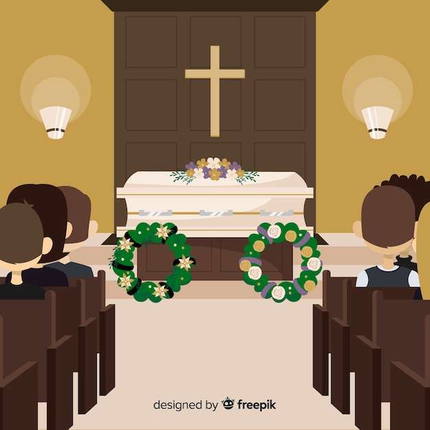 Elegante begrafeniscompositie met plat ontwerp Gratis Vector