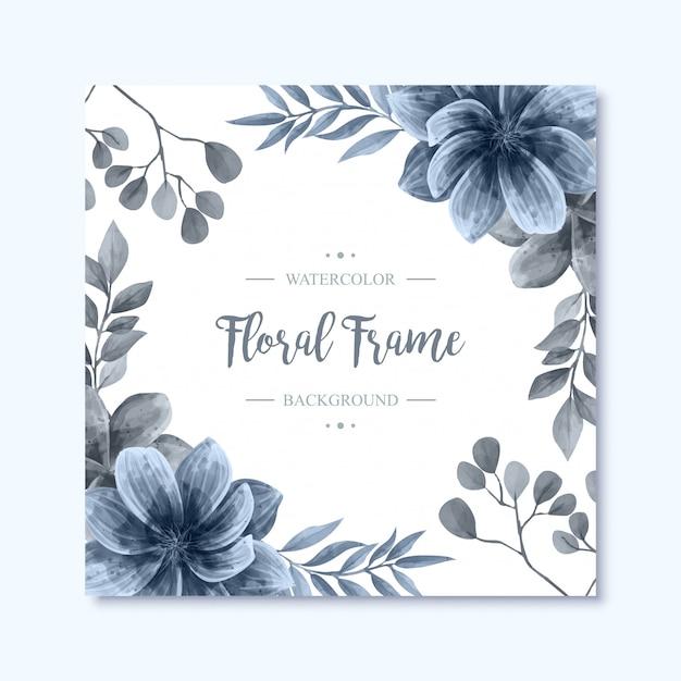 Elegante blauwe aquarel bloemen bloemen frame achtergrond Premium Vector