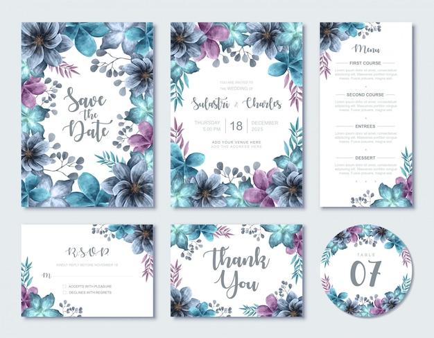 Elegante blauwe aquarel bloemen bruiloft uitnodiging kaartsjabloon instellen Premium Vector