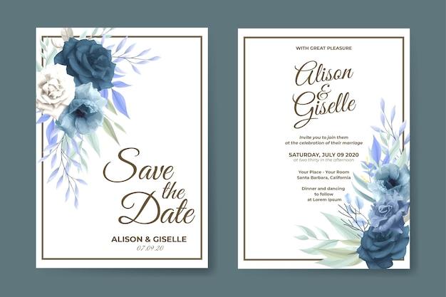 Elegante blauwe roos bloemen bruiloft uitnodiging kaartsjabloon Premium Vector