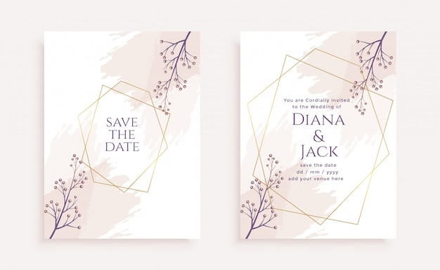 Elegante bloem bruiloft uitnodiging kaartsjabloon Gratis Vector