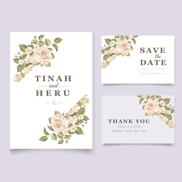 Elegante bloemen bruiloft uitnodiging kaartsjabloon Gratis Vector