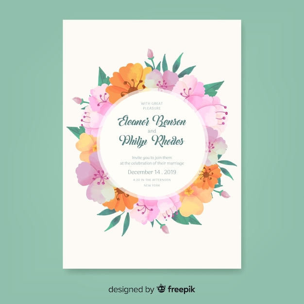 Elegante bloemen bruiloft uitnodiging sjabloon Gratis Vector