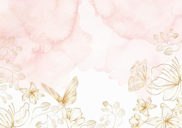Elegante bloemen en vlinders lijntekeningen achtergrond Premium Vector