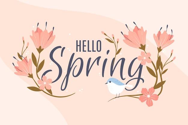 Elegante bloemen en vogel voorjaar achtergrond Gratis Vector
