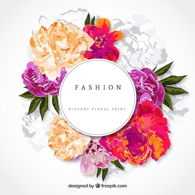 Elegante bloemen kaart Gratis Vector