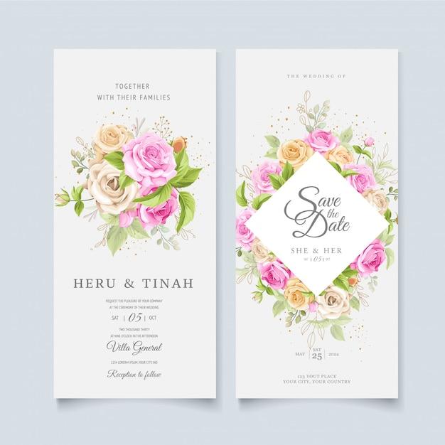Elegante bloemen krans bruiloft kaartsjabloon Gratis Vector