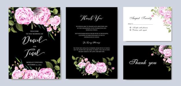 Elegante bloemenhuwelijk en uitnodigingskaartsjabloon Premium Vector