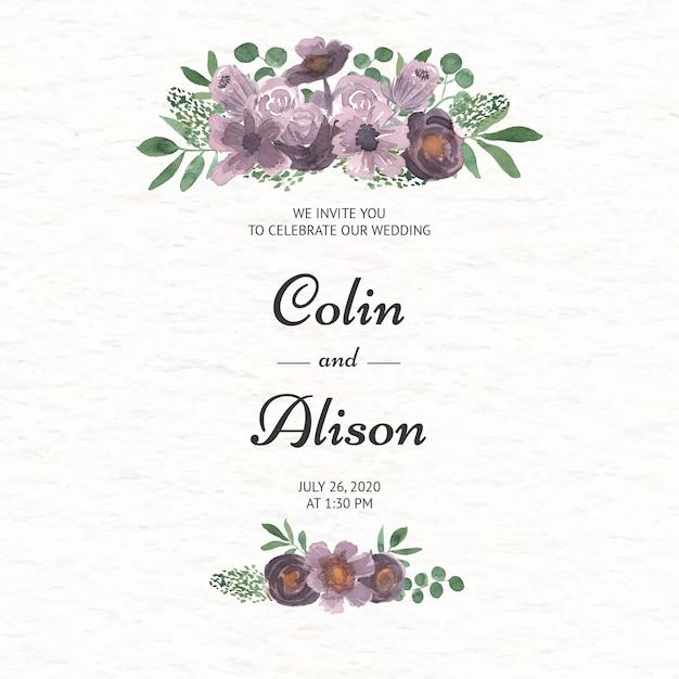 Elegante bloemenhuwelijksuitnodiging in waterverf Premium Vector