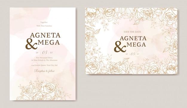 Elegante bloemenhuwelijksuitnodiging kaartsjabloon Gratis Vector