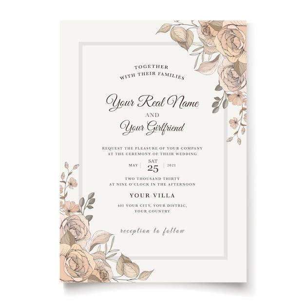 Elegante bloemenhuwelijksuitnodigingssjabloon Gratis Vector