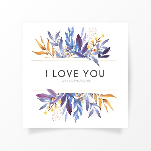 Elegante bloemenkaart met liefdesboodschap Gratis Vector