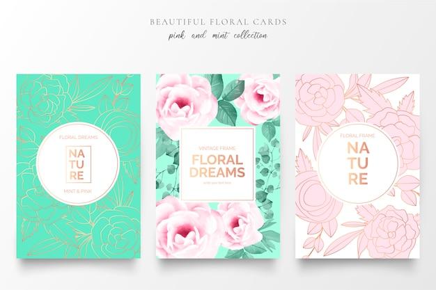 Elegante bloemenkaarten in roze en mint kleuren Gratis Vector