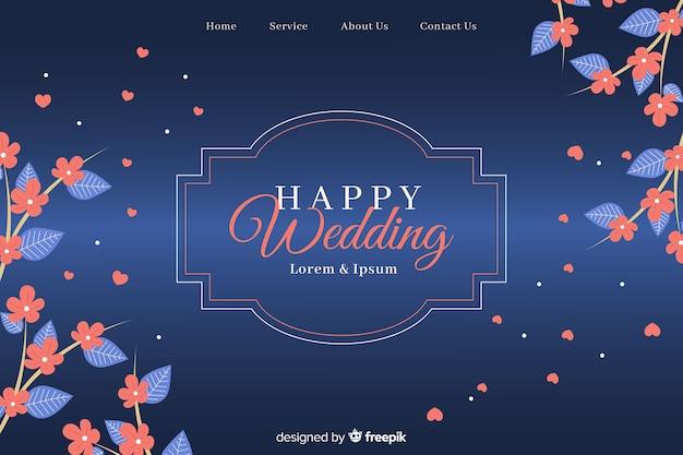 Elegante bruiloft bestemmingspagina sjabloon Gratis Vector