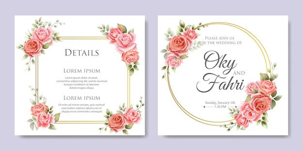 Elegante bruiloft bloemenuitnodiging Premium Vector