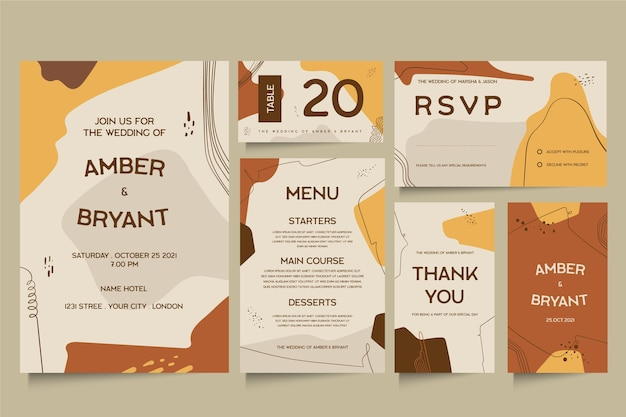 Elegante bruiloft briefpapier sjabloon thema Gratis Vector