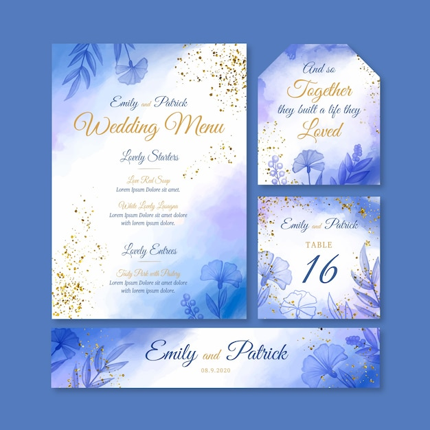 Elegante bruiloft briefpapier Gratis Vector