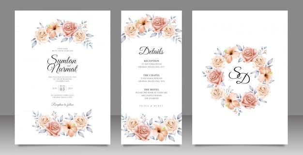 Elegante bruiloft kaart ingesteld sjabloon met bloemen en bladeren Premium Vector