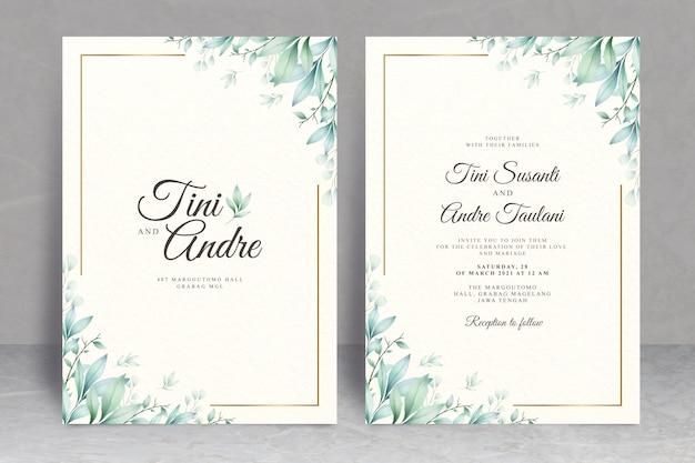 Elegante bruiloft kaartensjabloon met bladeren aquarel Premium Vector