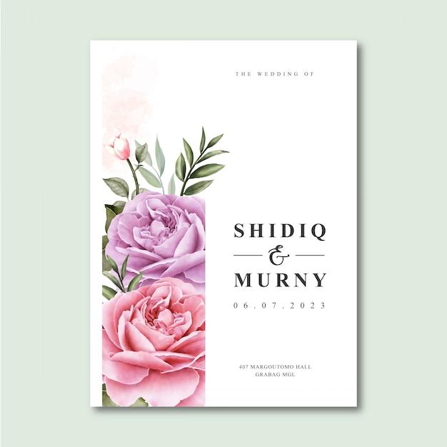 Elegante bruiloft kaartsjabloon met aquarel bloemen Premium Vector