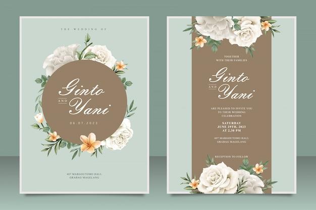 Elegante bruiloft kaartsjabloon met frame bloemen Premium Vector