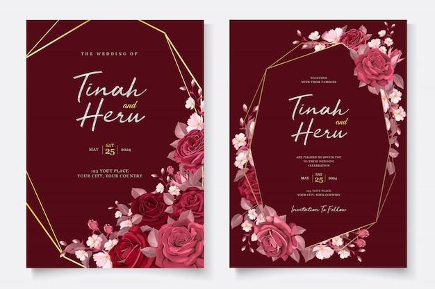 Elegante bruiloft kaartsjabloon met kastanjebruine bloemen en bladeren Gratis Vector