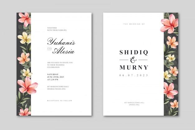 Elegante bruiloft kaartsjabloon met kleurrijke bloemen aquarel Premium Vector
