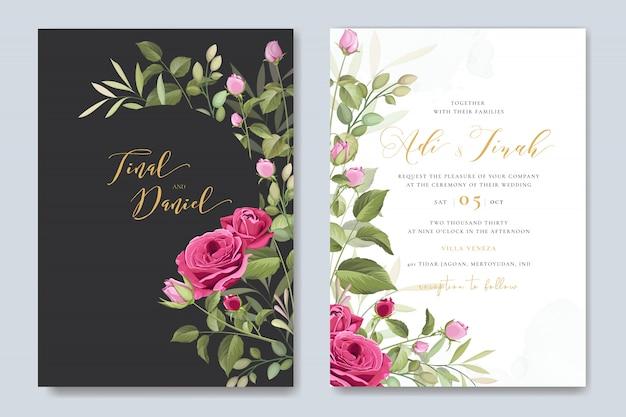 Elegante bruiloft kaartsjabloon met mooie rozen krans Premium Vector