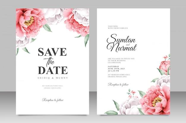 Elegante bruiloft kaartsjabloon met pioen Premium Vector